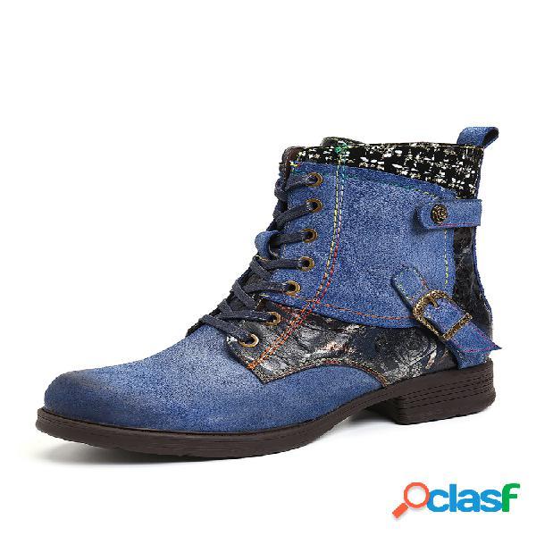 Socofy piel genuina cremallera con cordones y hebilla metálica de empalme soft pantalón corto plano botas