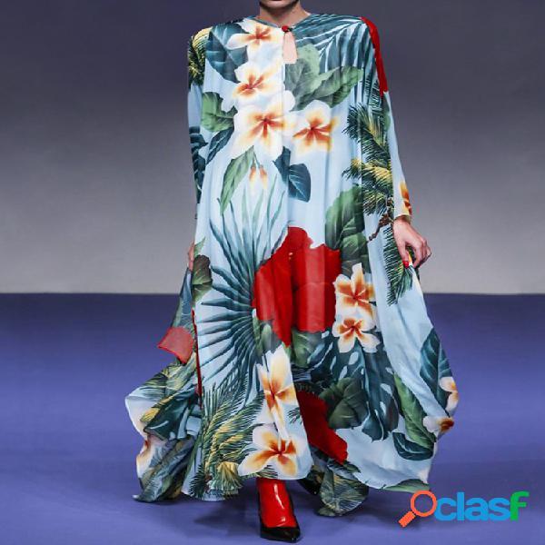 Manga larga con estampado floral suelto vendimia maxi vestido para mujer