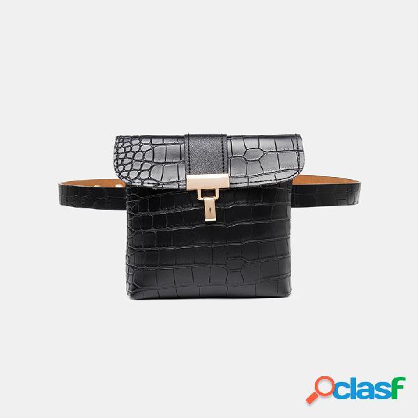 Mujer crocodile patrón mini crossbody bolsa elegante cintura bolsa