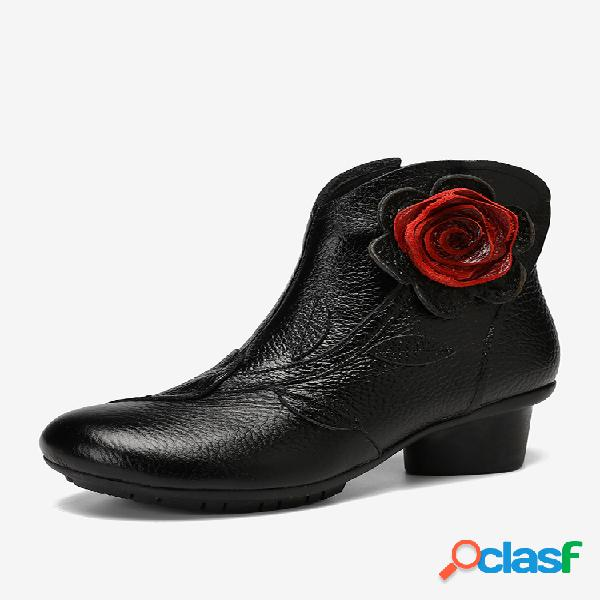 Socofy flor hecha a mano de color sólido para mujer de tacón bajo piel genuina soft corto botas