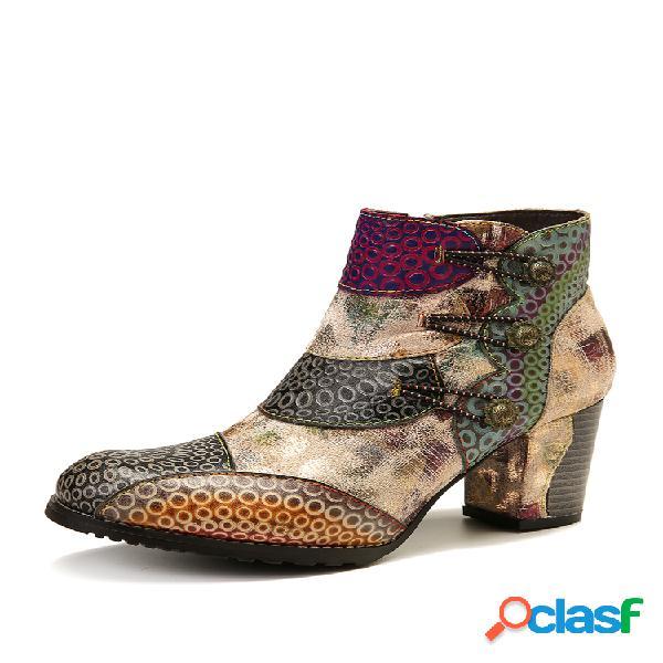 Socofy en relieve piel genuina hebilla retro cremallera tacón alto tobillo botas