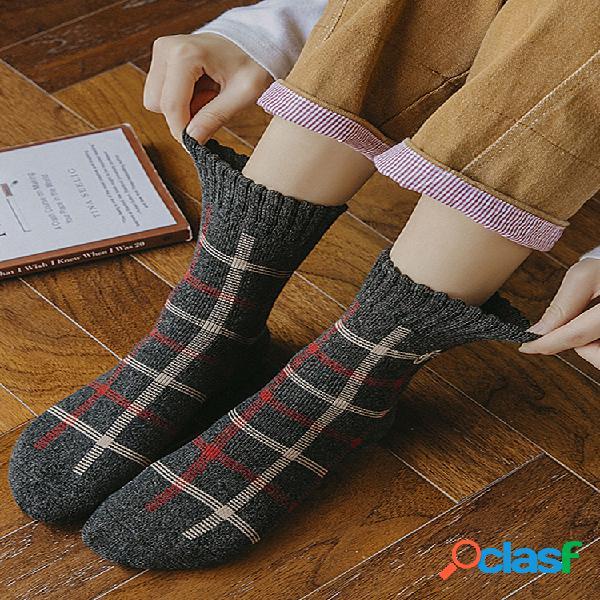 Bordado de gato para mujer calcetines grueso calcetines