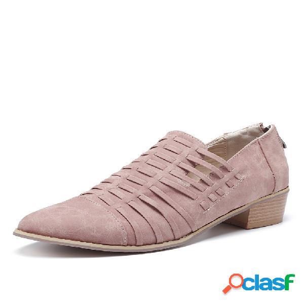 Mujer tejido punta puntiaguda tacón cuadrado tobillo verano botas