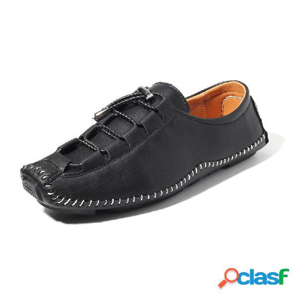 Zapatos de microfibra para hombres que cosen zapatos casuales anticolisión