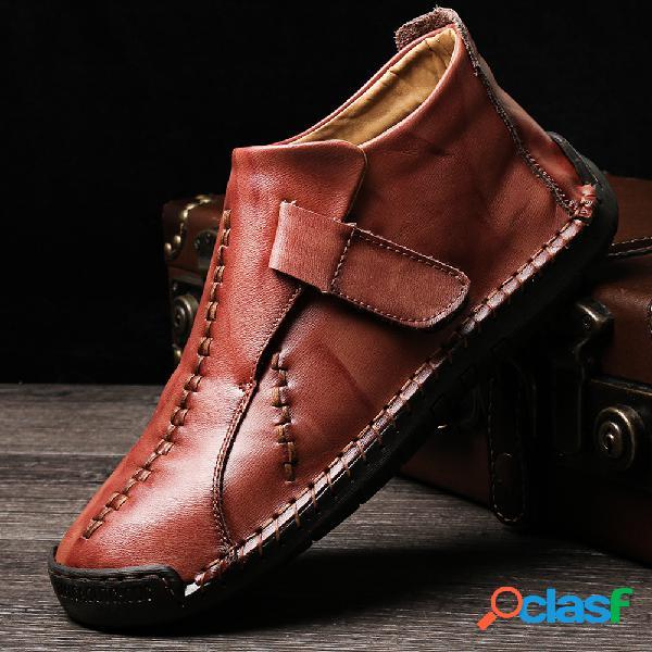 Menico costura a mano de hombre de gran tamaño gancho tobillo de cuero con lazo botas