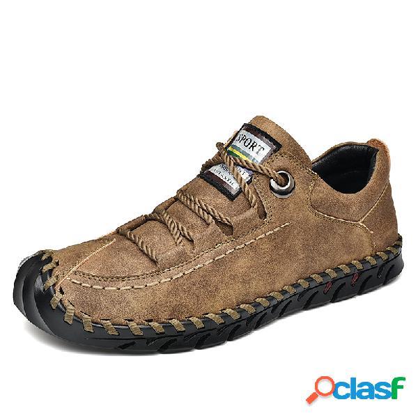Zapatos de cuero de microfibra suela anticolisión soft para hombres