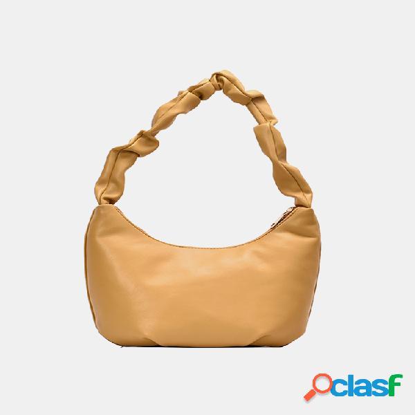 Mujer bolso de satchel pu sólido bolsa