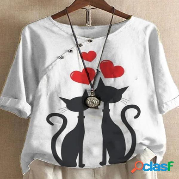 Cartoon gato camiseta estampada con cuello en o de manga corta para mujer
