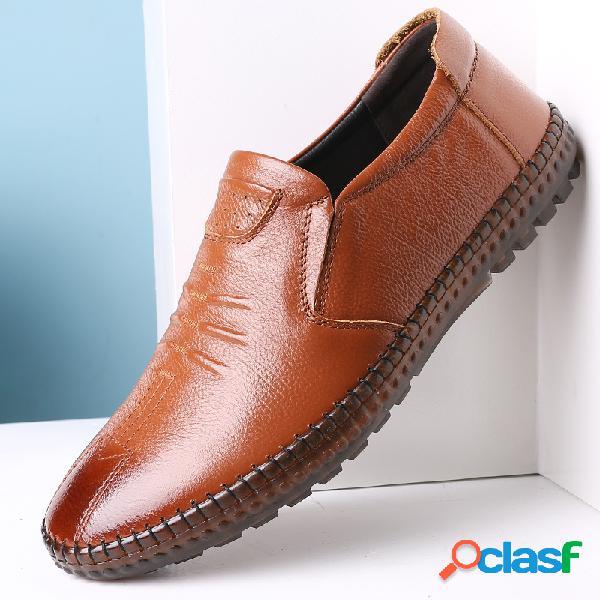 Hombre piel genuina antideslizante cosido a mano soft zapatos casuales con suela