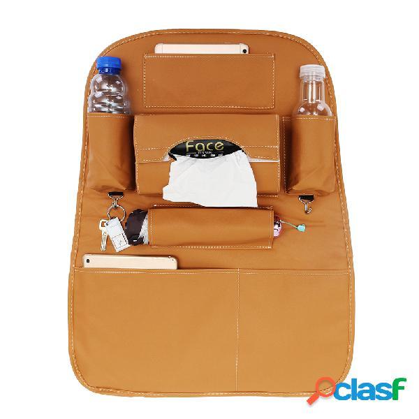 Cuero de pu coche almacenamiento en el respaldo del asiento bolsa impermeable portavasos multifuncional organizador