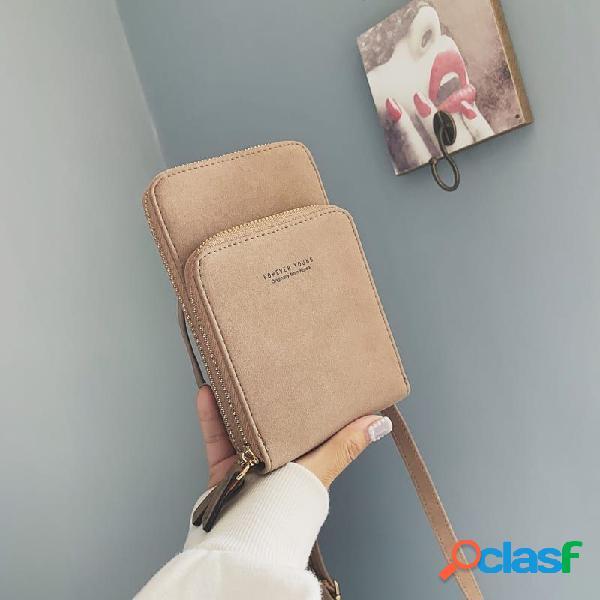Mujer hombro bolsa teléfono móvil bolsa llave caso monedero cuadrado bolsa