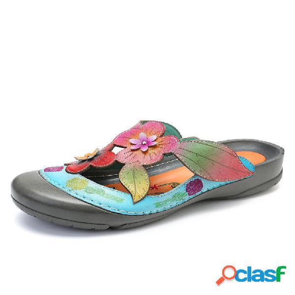 Socofy piel genuina flores de empalme retro patrón costura ajustable gancho bucle sandalias