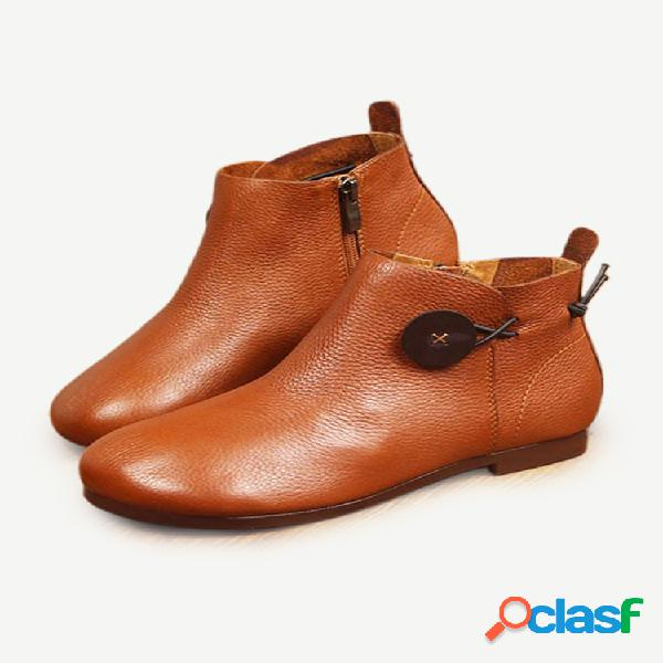 Socofy piel genuina cremallera de tobillo con costura de botones vendimia botas
