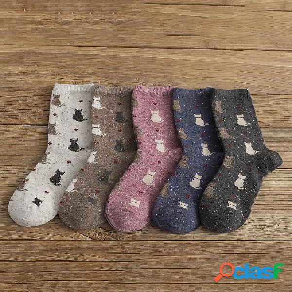 10pc retro warm mujer calcetines jacquard fashion gato patrón