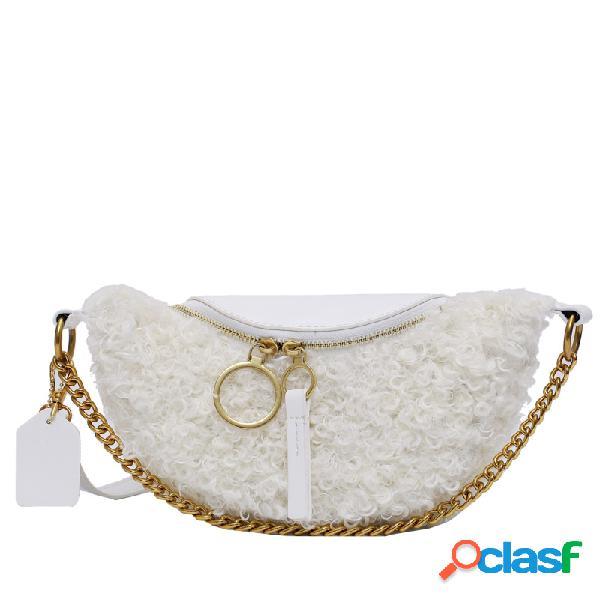 Mujer cadena de felpa bolsa dumplings messenger bolsa
