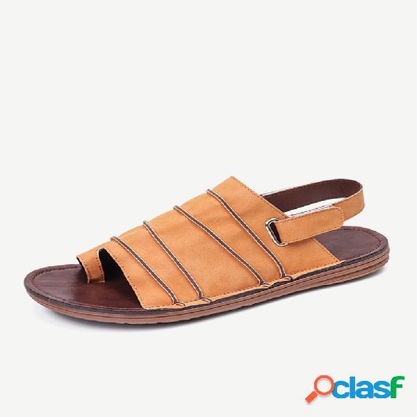 Lostisy gancho punta con clip de bucle costura hecha a mano casual plano antideslizante slingback sandalias