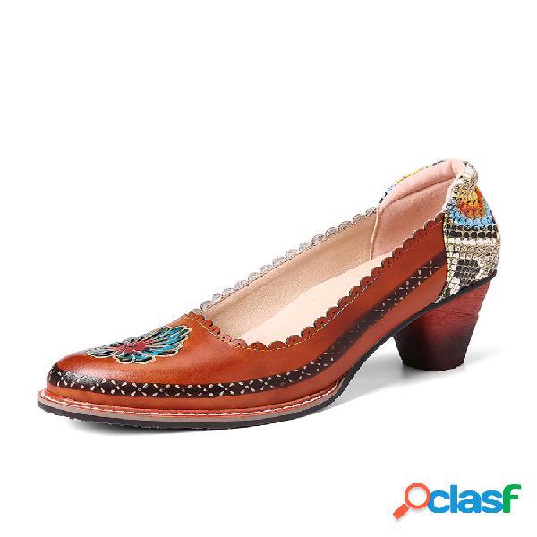 Socofy retro flower piel genuina slip on zapatos de tacón de lentejuelas