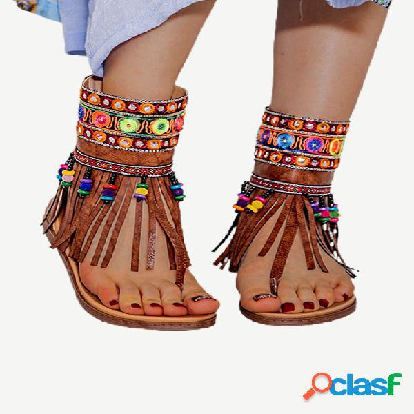 Lostisy clip de bordado dedo del pie cremallera trasera mediados de claf plano sandalias para mujer