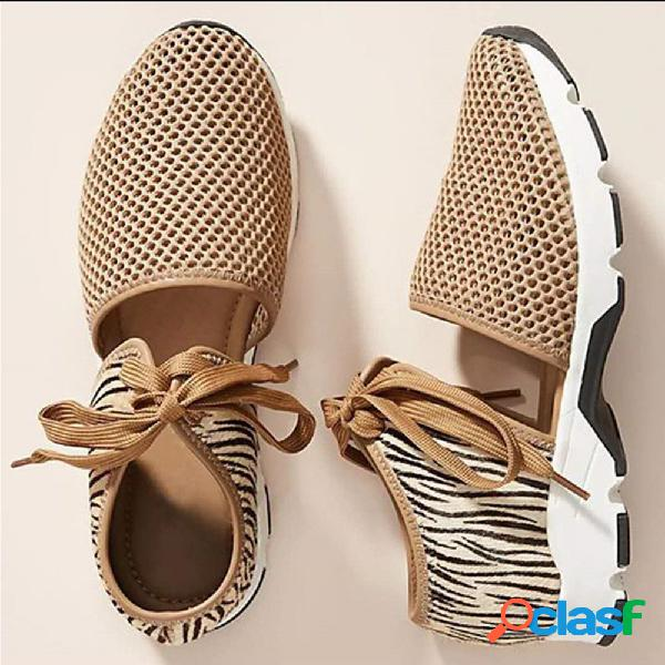 Mujer tejido de malla de gran tamaño hollow antideslizante casual sports sandalias