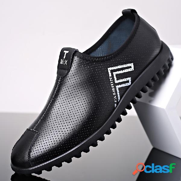 Slip antideslizante de cuero de microfibra transpirable para hombres en zapatos casuales