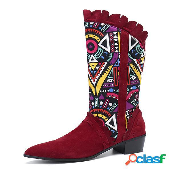 Mujer casual retro elegante geométrico patrón estilo nacional mitad de la pantorrilla botas