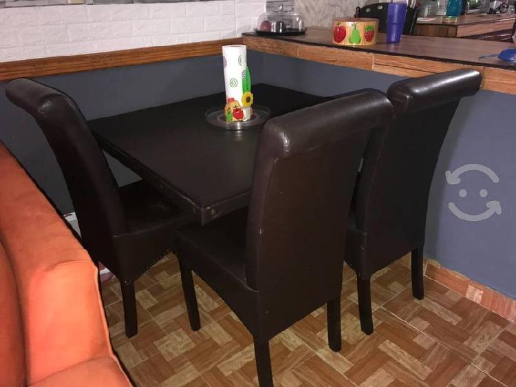Comedor cuadrado, color chocolate, 4 sillas