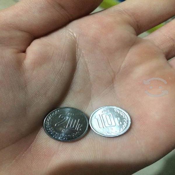 Monedas mexicanas de 20 y 10 centavos