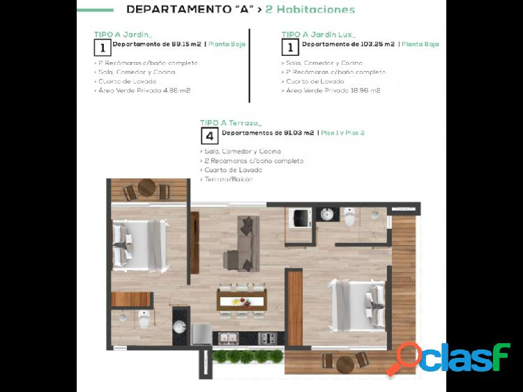 Tulum departamento en venta tipo a terraza en primer piso. alf
