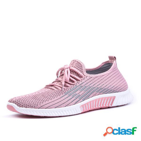 Mujer zapatillas de deporte planas transpirables de malla transpirable soft antideslizantes