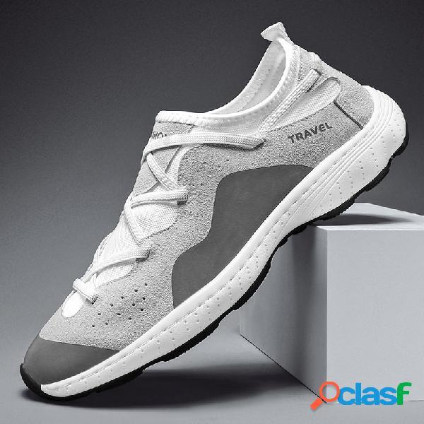 Hombres malla transpirable empalme peso ligero soft zapatillas deportivas para correr