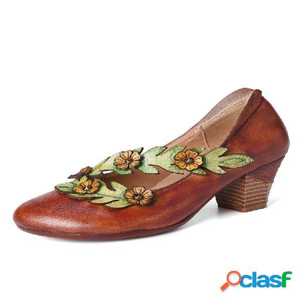 Socofy retro boca baja zapatos de cuero redondos de tacón alto con correa de vid de girasol encantadores