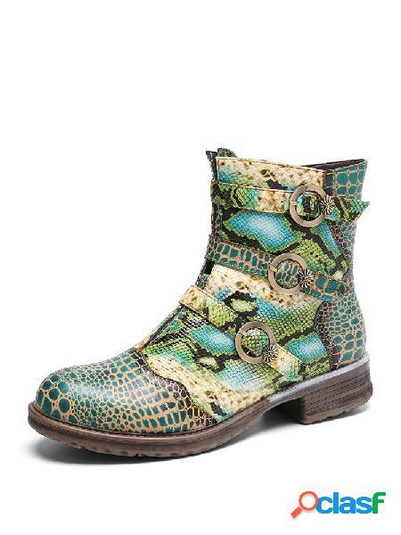 Socofy correa de hebilla de cuero con estampado de serpentina decoración cómoda usable tacón de bloque tobillo botas