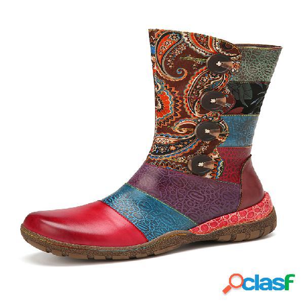 Socofy costura retro multicolor cuero estampado con hebilla decoración cómoda cremallera lateral plano a media pierna botas