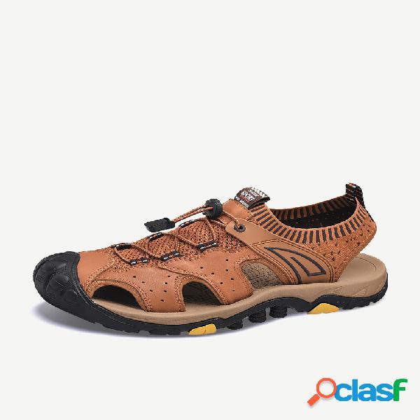 Dedo del pie anticolisión de cuero de vaca genuino para hombre al aire libre senderismo sandalias