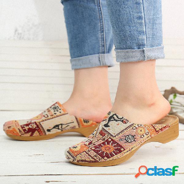Socofy retro cloth splicing fashion patrón costura slip on mules zuecos tacón bajo sandalias