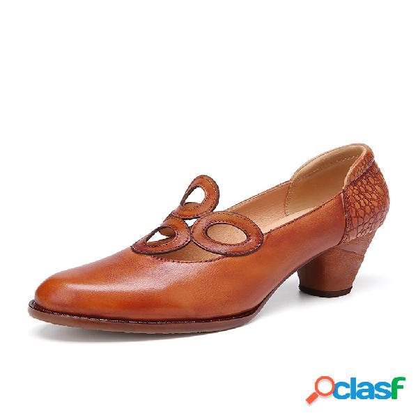 Socofy zapatos de tacones elegantes de cuero de vaca de color sólido retro con recorte redondo