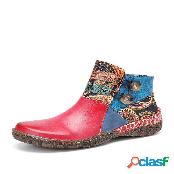 Socofy retro estampado paisley empalme patrón piel genuina costura botón lateral cómodo tobillo portátil botas