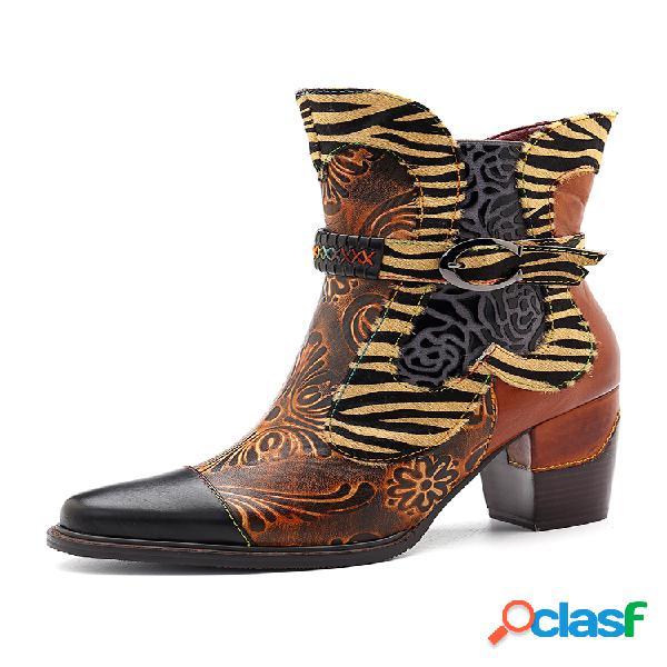 Socofy flor retro de empalme de cuero de vaca hecho a mano patrón cremallera de costura con hebilla botas