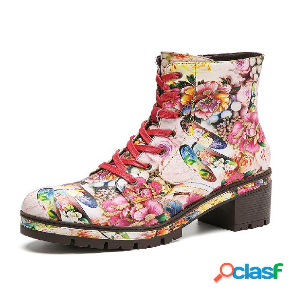 Socofy flores florecientes impreso cómodo cuero usable elegante tacón grueso corto botas