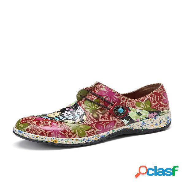 Socofy retro hebilla fancy flowers empalme piel genuina costura cremallera slip on zapatos planos