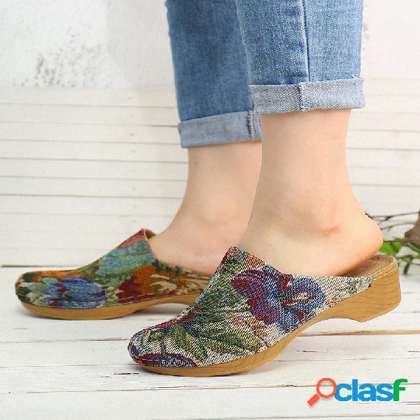 Socofy tela de flores patrón sandalias sin cordones con costura zuecos cómodo tacón bajo sandalias