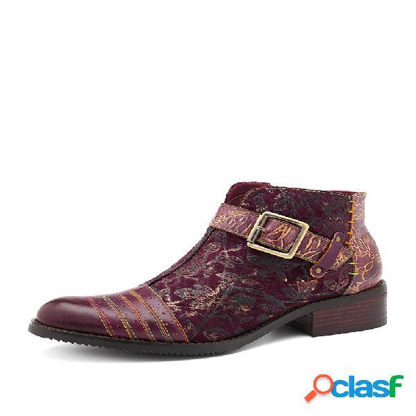 Socofy vendimia hebilla empalme de cuero de vaca reto flower patrón cremallera de costura multicolor botas