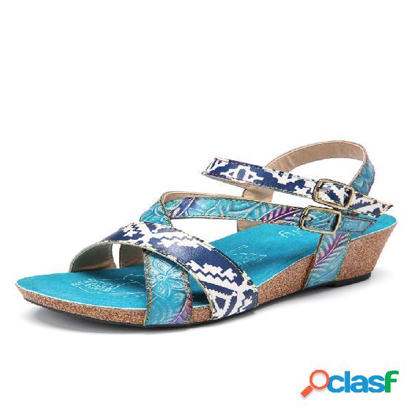 Socofy cuña de costura con correa de tobillo con hebilla elástica doble floral de cuero sandalias