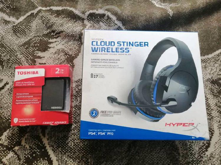 Disco duro toshiba 2tb y gaming headset hyper-x