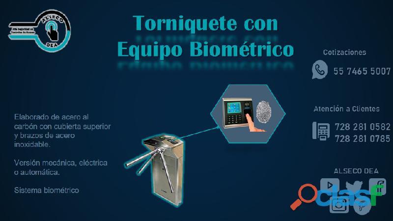 Torniquete con equipo biométrico