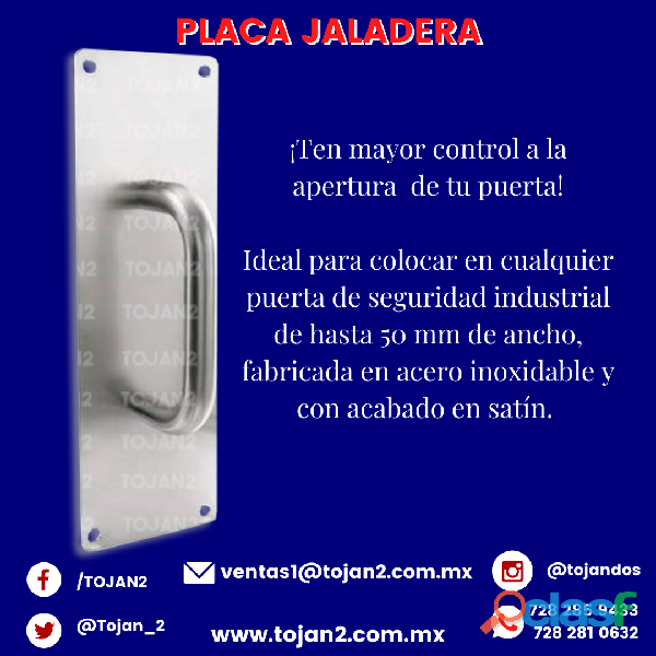 PLACA JALADERA PARA PUERTAS DE SEGURIDAD