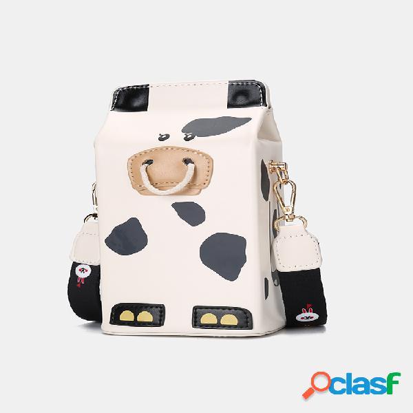Mujer pu cuero vaca linda tiger crossbody bolsa monedero del teléfono informal