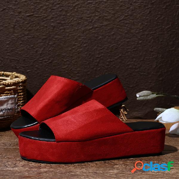 Plataforma antideslizante con punta abierta y leopardo informal para mujer zapatillas