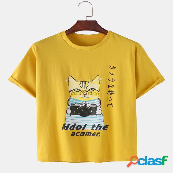 Mens funny cartoon gato print loose light casual o-neck t-shirts