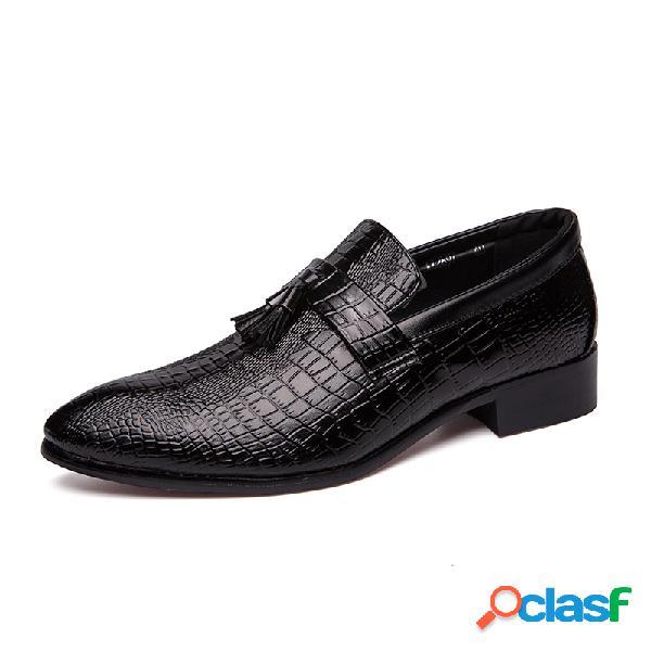 Mocasines de cuero de microfibra para hombre patrón mocasines sin cordones vestido zapatos